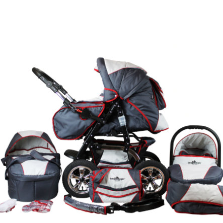 BERGSTEIGER Combi Kinderwagen Milano grey & red stripes