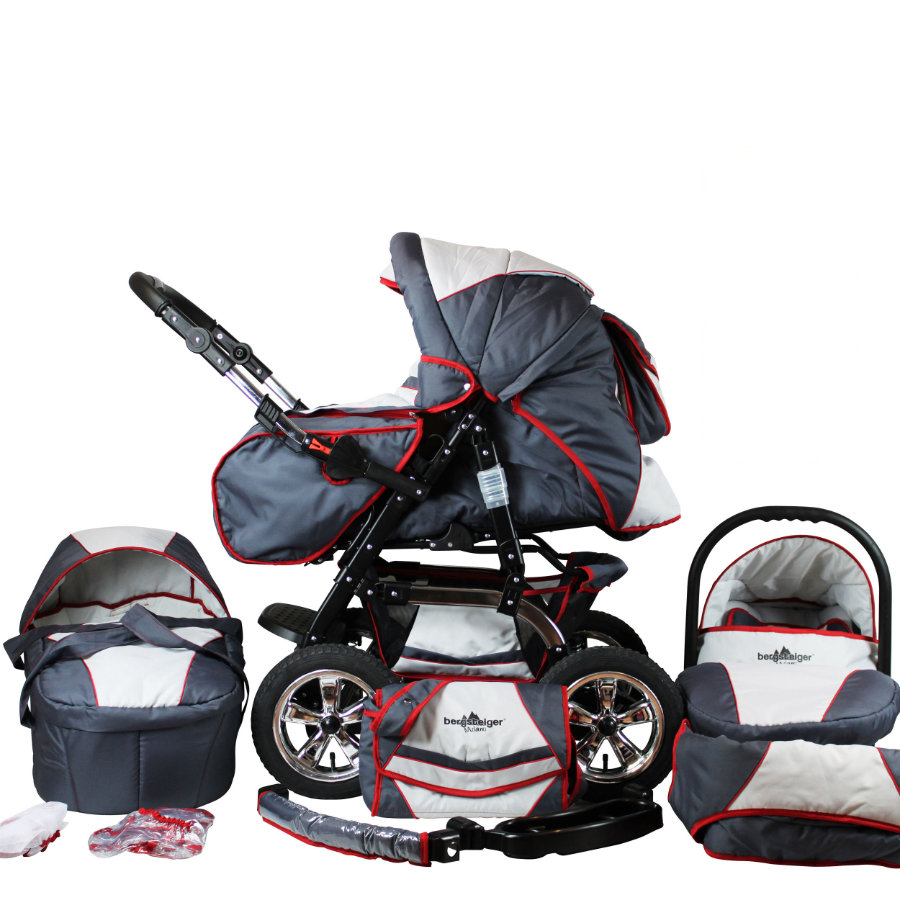 BERGSTEIGER Wózek spacerowy Milano - zestaw grey & red stripes