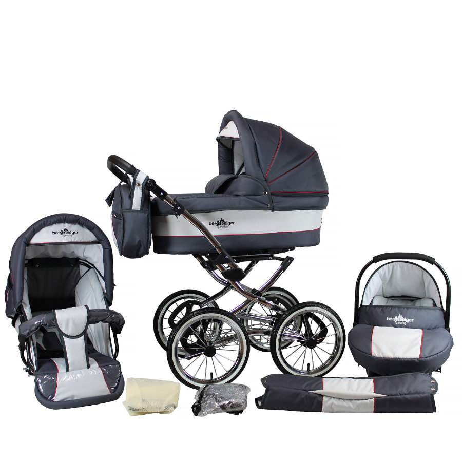 BERGSTEIGER Passeggino trio completo Venezia grey & red stripes