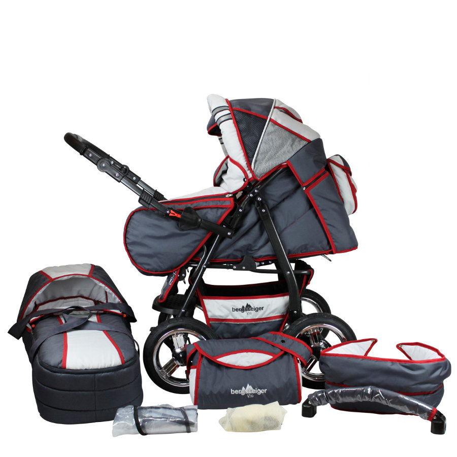 BERGSTEIGER Combi Kinderwagen Rio grey & red stripes