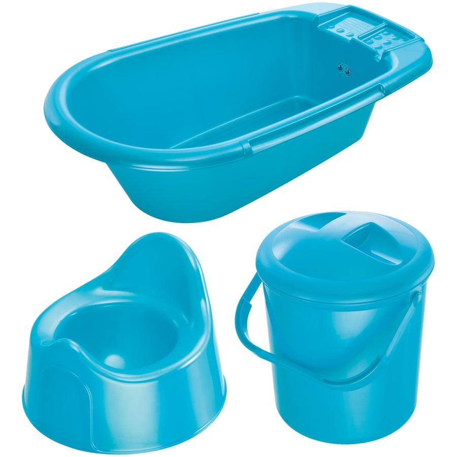 ROTHO Ensemble de soins Bella Bambina baignoire, poubelle à couches, pot, bleu marine nacré