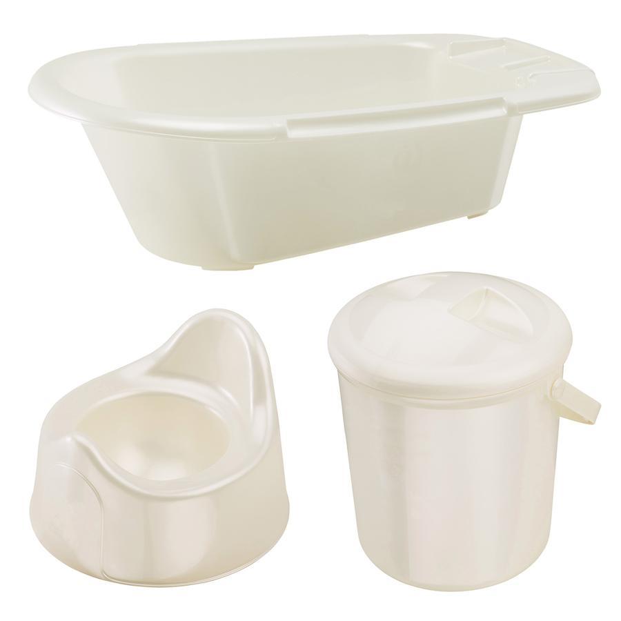 ROTHO Ensemble de soins Bella Bambina baignoire, poubelle à couches, pot, blanc nacré crème