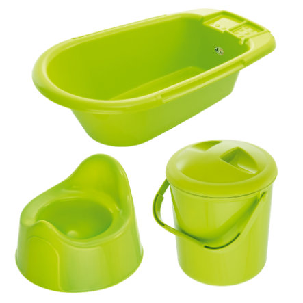 ROTHO Bella Bambina Care Set, Bathtub, Nappy Bucket, Potty apple green