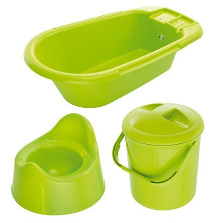 ROTHO Ensemble de soins Bella Bambina baignoire, poubelle à couches, pot, vert pomme