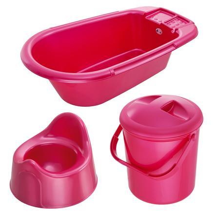 ROTHO Ensemble de soins Bella Bambina baignoire, poubelle à couches, pot, framboise nacré