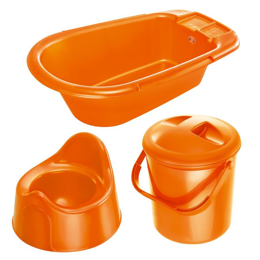 ROTHO Ensemble de soins Bella Bambina baignoire, poubelle à couches, pot, mandarine nacré