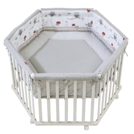 Baby Gear New Roba Rock Star Baby Hexagonal Wooden Playpen White And Grey