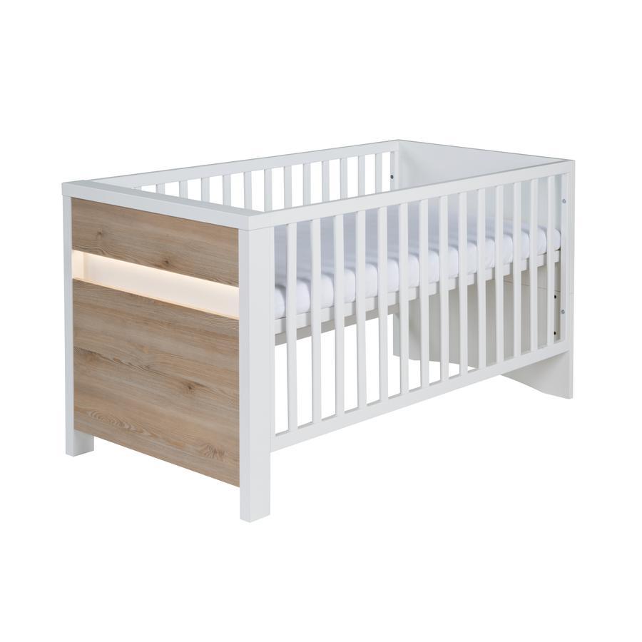 SCHARDT Lit bébé évolutif PLANET PINIE, 70 x 140 cm, blanc/couleurs bois