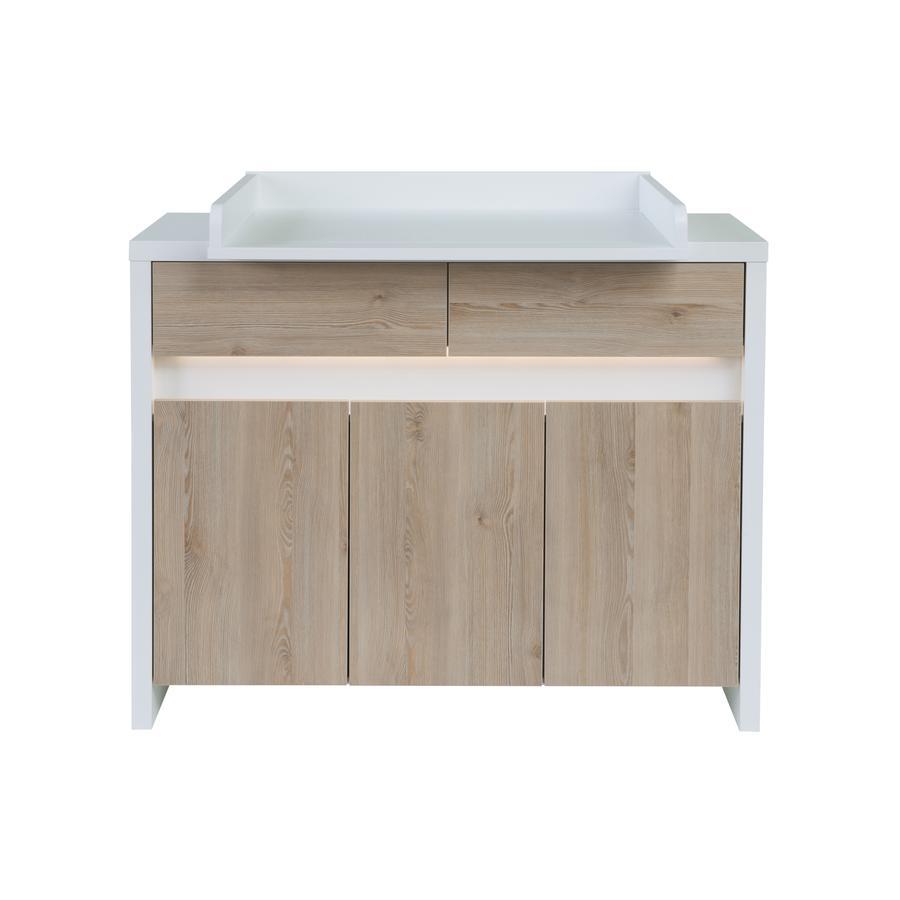 SCHARDT Commode à langer avec table à langer PLANET PINIE, blanc/couleurs bois