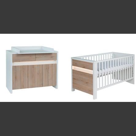 SCHARDT Set lettino & fasciatoio PLANET PINIE bianco / legno naturale