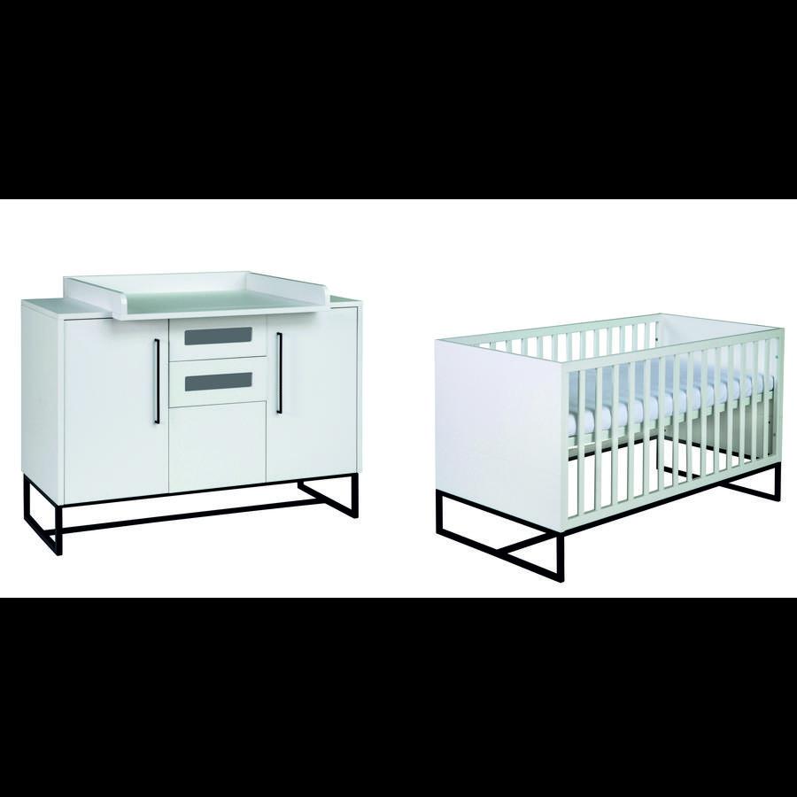 SCHARDT Ensemble COSMO avec lit, côtés transformables, commode à langer avec table à langer, blanc/noir