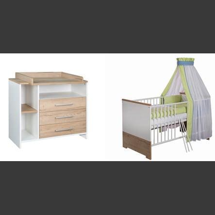 SCHARDT Ensemble ECO PLUS avec lit, côtés transformables, commode à langer avec table à langer, couleurs bois, blanc