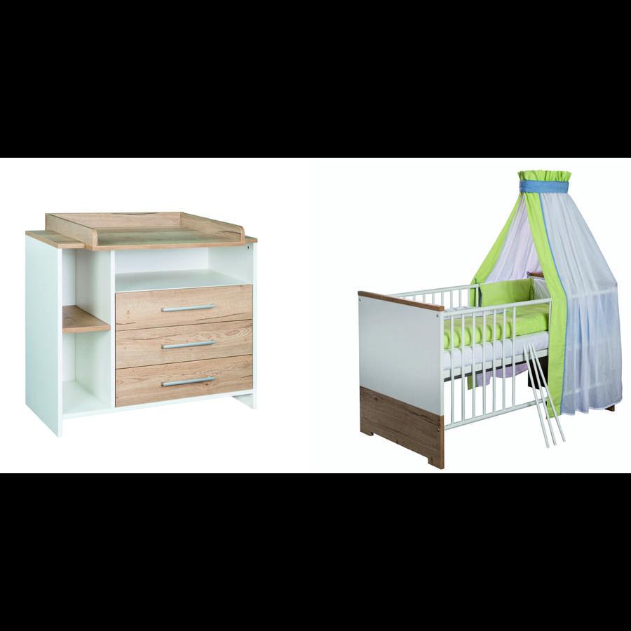 SCHARDT Set lettino & fasciatoio ECO PLUS legno naturale / bianco