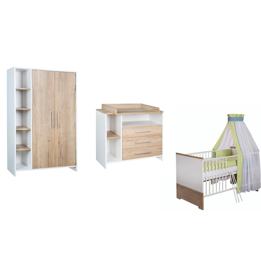 schardt set pour chambre d 39 enfant eco plus avec armoire 2 portes lit c t s transformables. Black Bedroom Furniture Sets. Home Design Ideas