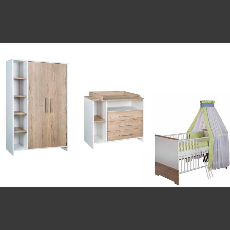 SCHARDT Set pour chambre d'enfant ECO PLUS avec armoire 2 portes, lit, côtés transformables, commode à langer avec table à langer, couleurs bois, blanc