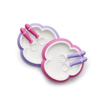 BABYBJÖRN Barntallrik, Sked och Gaffel, 2-pack rosa/lila