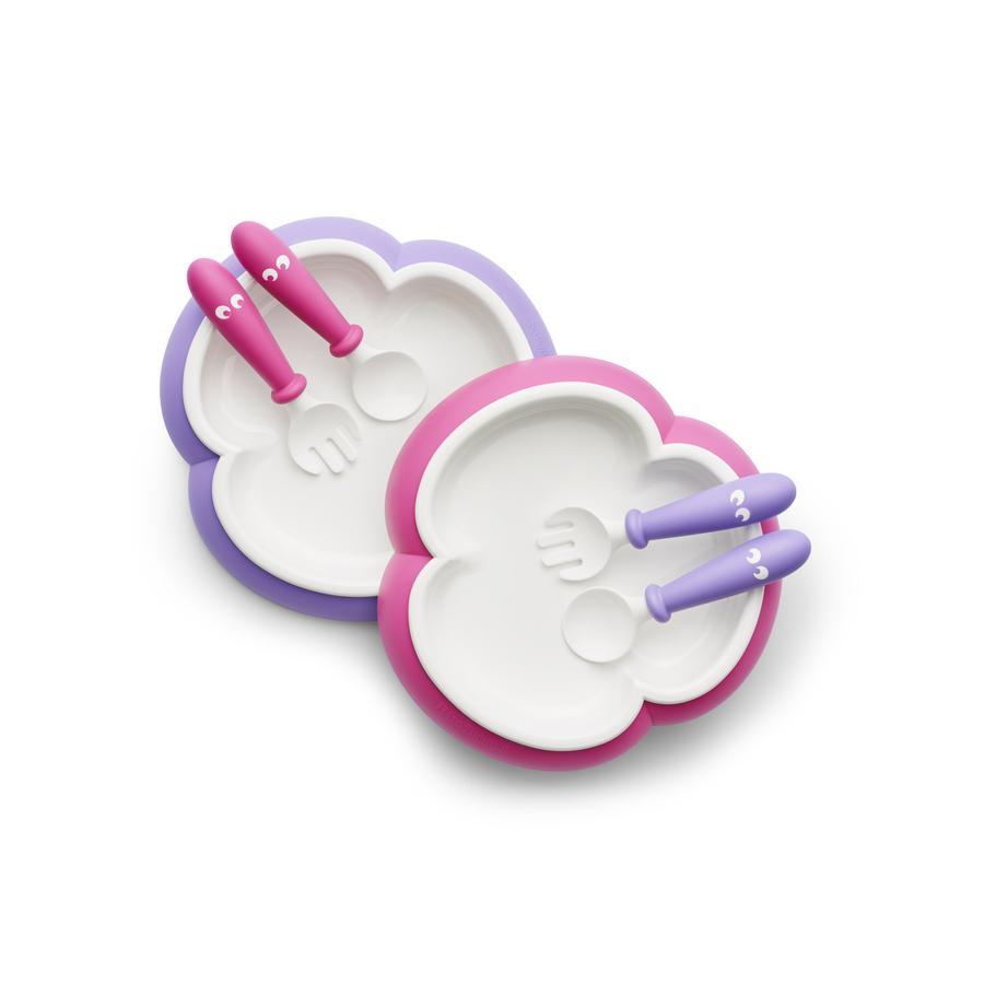 BABYBJÖRN Kinderbord, Kinderlepel en vorkl, 2 Sets Pink/Lila
