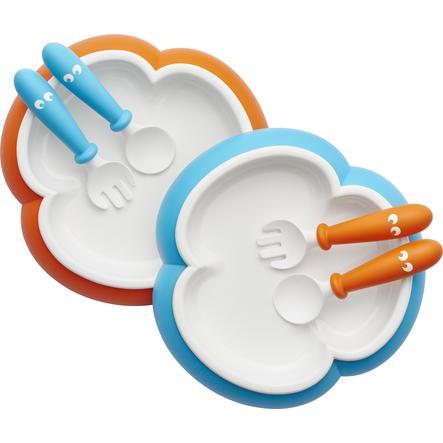 BABYBJÖRN Plato, Cuchara y tenedor de aprendizaje Naranja - turquesa 2 Juegos