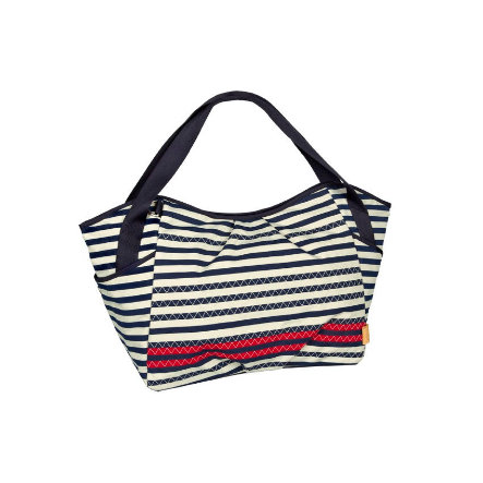 LÄSSIG Sac à langer Casual Twin Bag Striped Zigzag, bleu marine