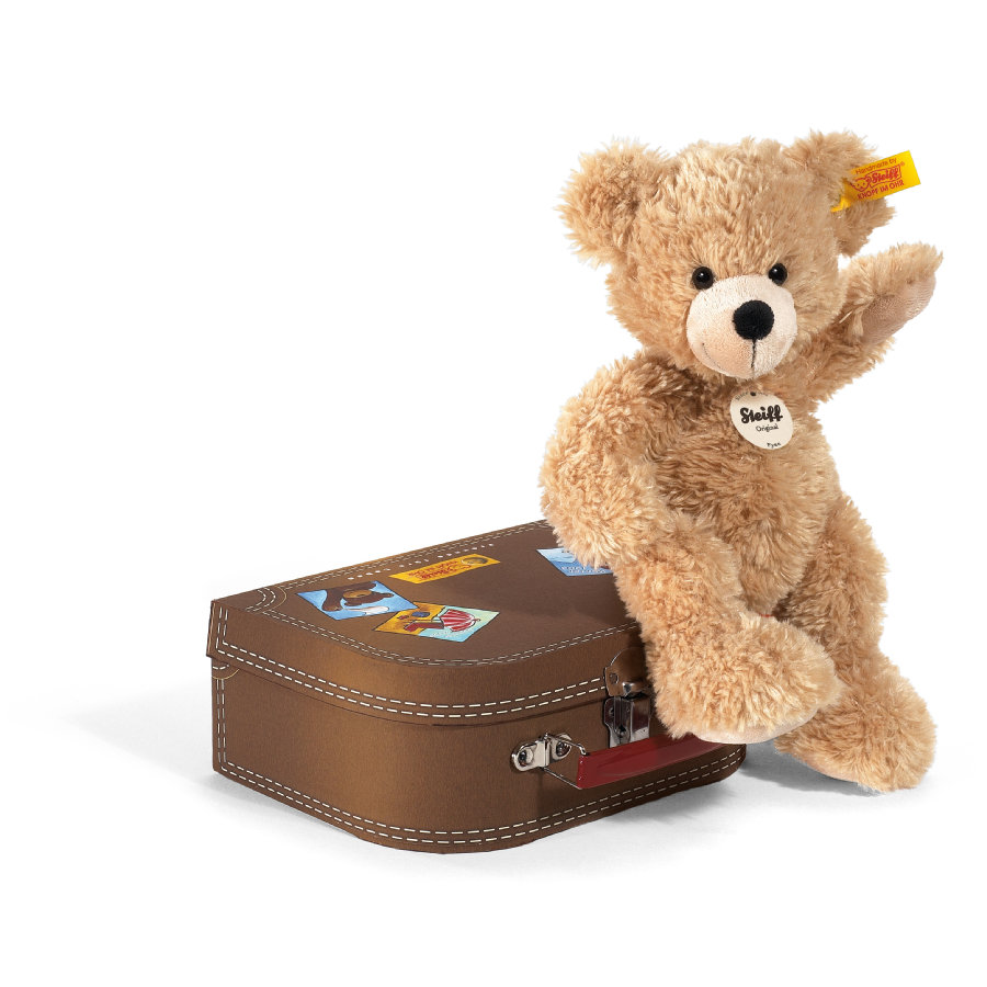 STEIFF Nalle Fynn, 28 cm, beige + matkalaukku