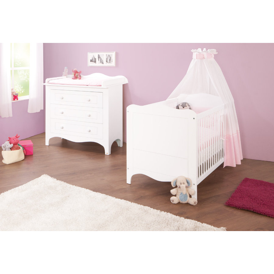 Pinolino ensemble lit commode fleur for Ensemble lit commode bebe