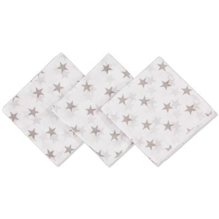 Pink or Blue Moltondoeken 3 stuks sterren taupe