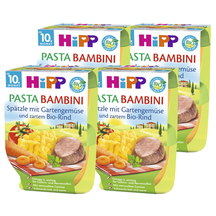 HiPP Pasta Bambini Spätzle mit Gartengemüse und zartem Bio-Rind 8 x 220 g