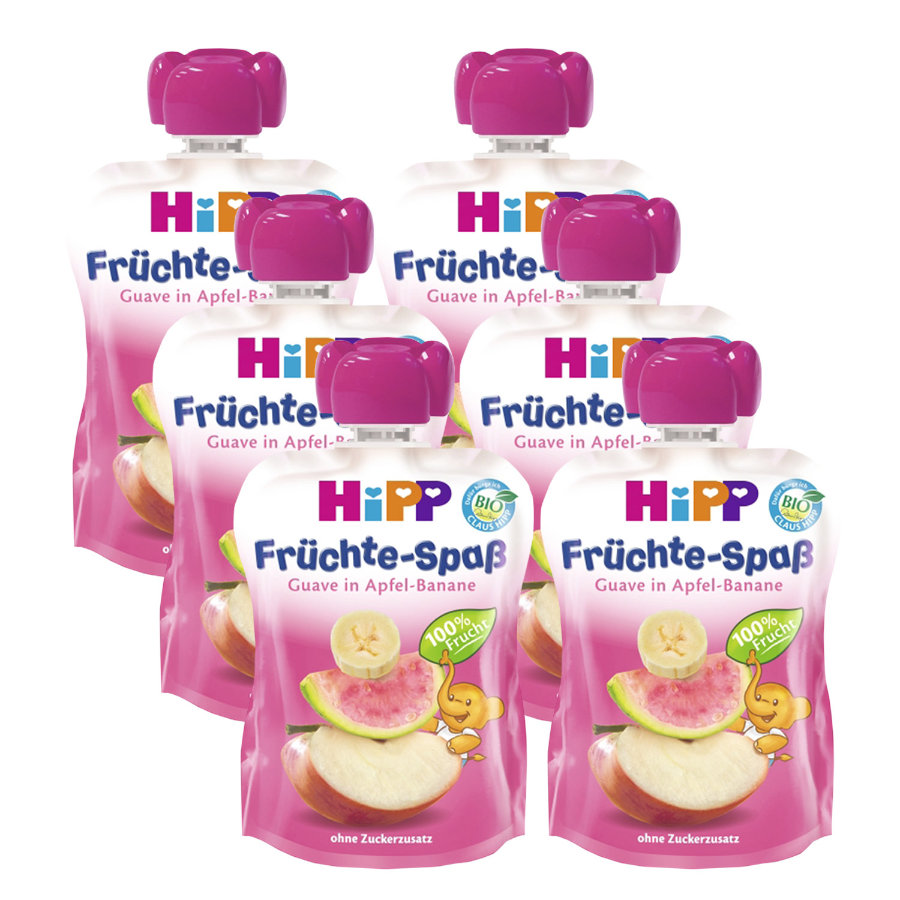 HiPP Früchte Spaß Pink Guave in Apfel-Banane 6x90g