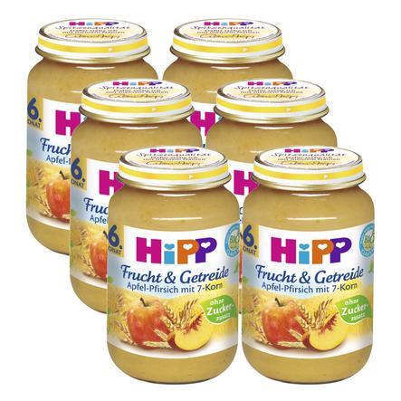 HiPP Frucht und Getreide Apfel-Pfirsich mit 7-Korn 6 x 190 g