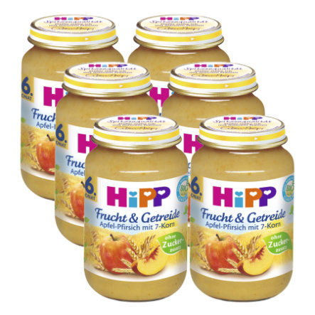 HiPP Fruit and Cereal Apple-Peach with 7 Grains 6x190g