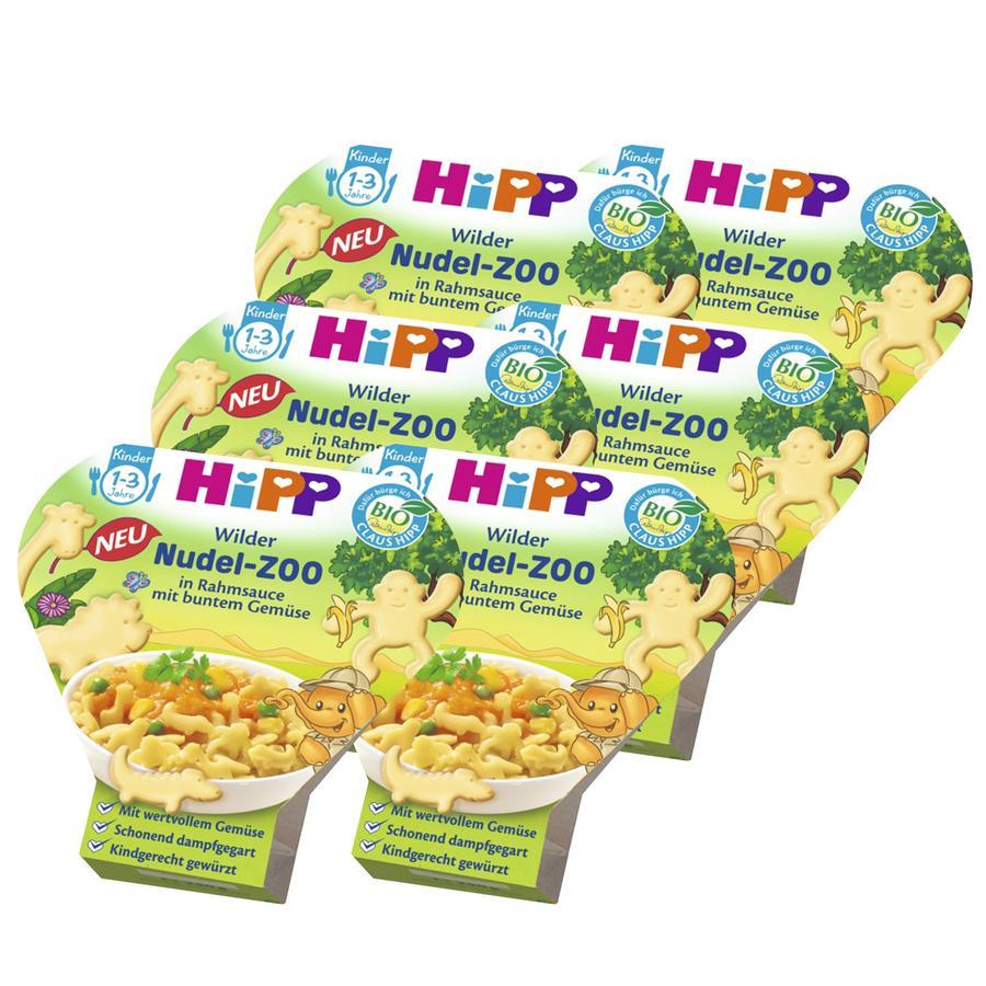 HiPP Kinder-Nudel-Spaß wilder Nudel-Zoo in Rahmsauce mit buntem Gemüse 6 x 250 g