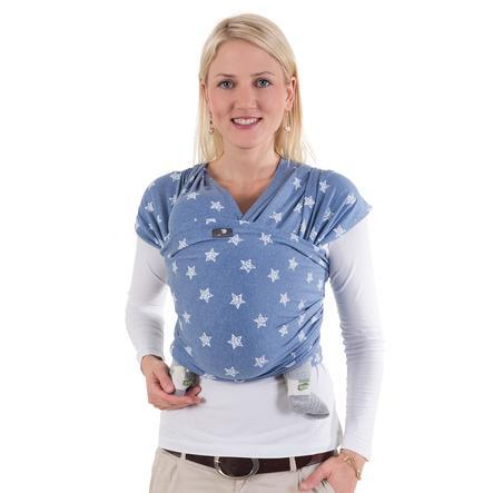 HOPPEDIZ Maxi elastický šátek na nošení dítěte modrý Melange s Chalkprint