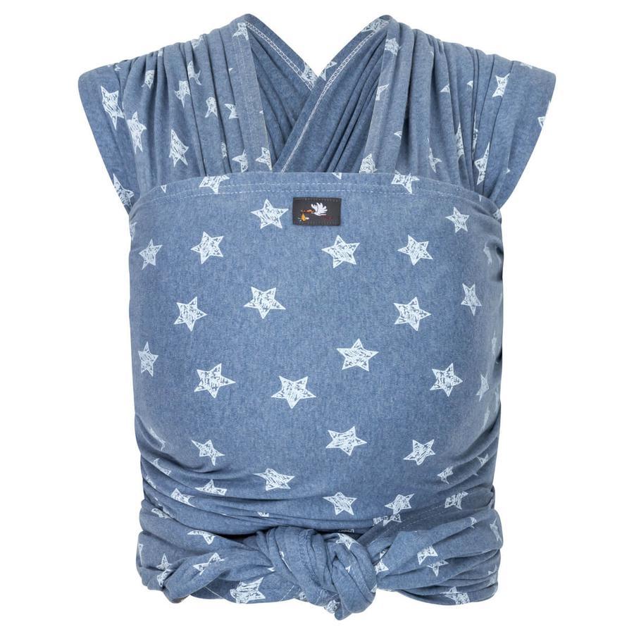 HOPPEDIZ Lange Elastische Draagdoek Blauw-Melange met Chalkprint