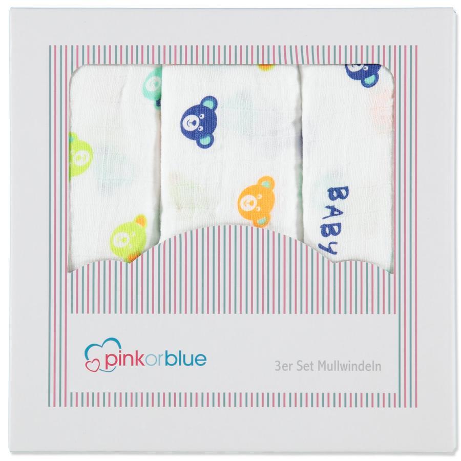 PINK OR BLUE EXKLUSIV Mullwindeln 3er Pack BÄRENKOPF