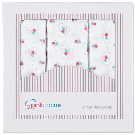 PINK OR BLUE Pieluszki muślinowe 3 szt.