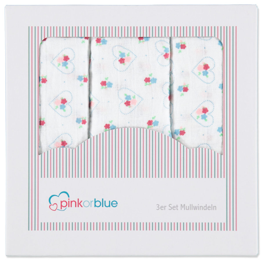 pink or blue exklusiv Tygblöjor 3-pack Flower Power