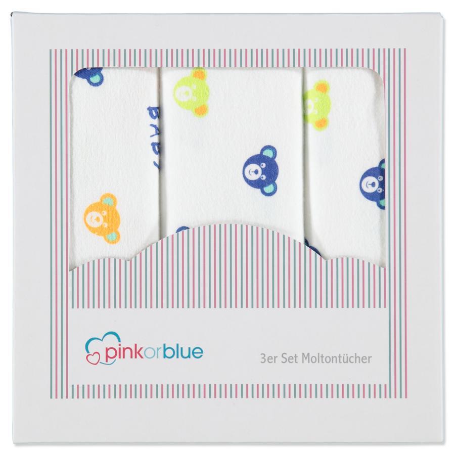 PINK OR BLUE EXKLUSIV Moltontücher 3er Pack BÄRENKOPF