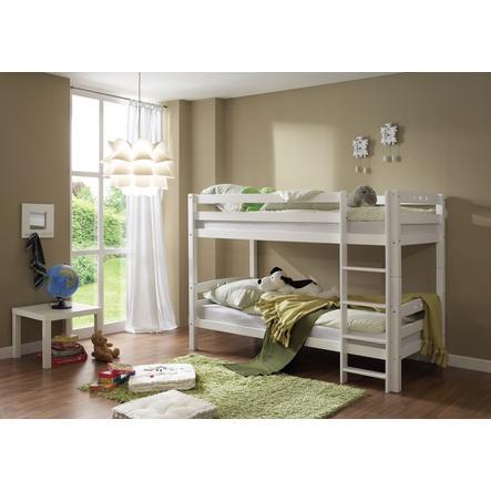 TICAA dvojlůžková patrová postel bílá - buk