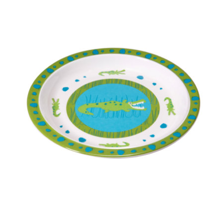 LÄSSIG Melamin Teller mit Silikonrand Crocodile granny blau/grün
