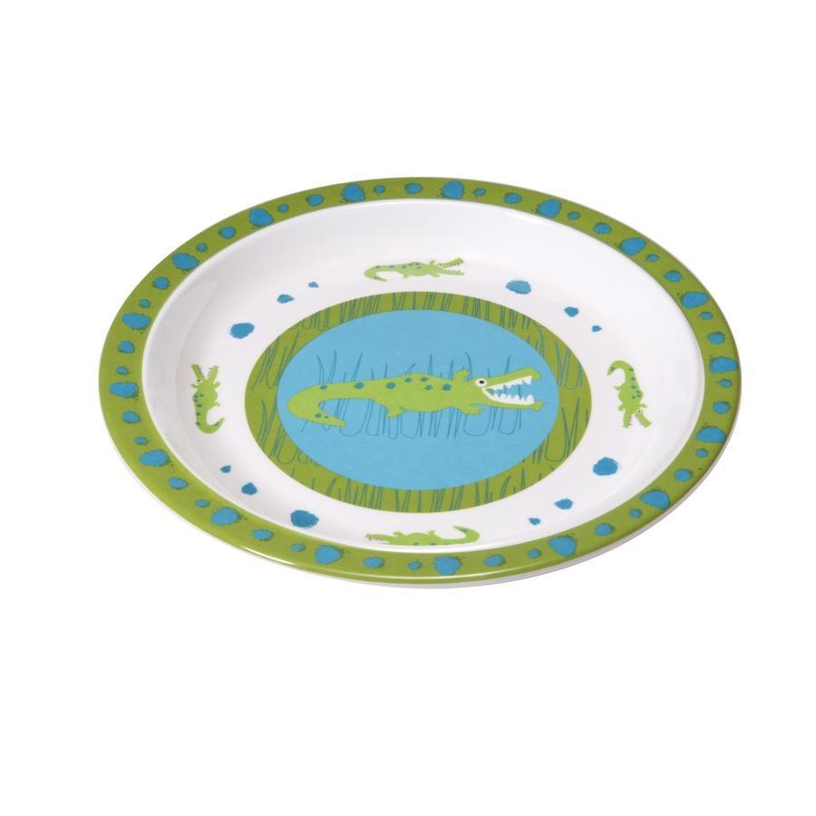 LÄSSIG Assiette en mélamine avec bordure en silicone Crocodile, vert pomme