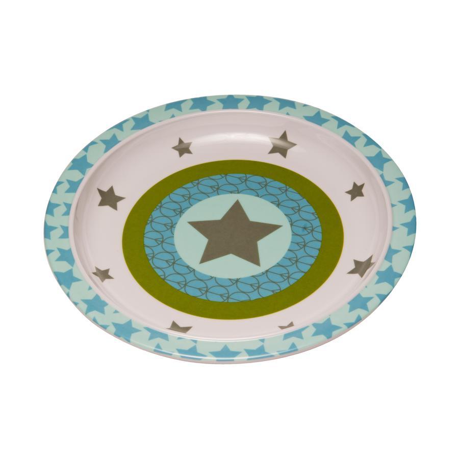 LÄSSIG Assiette en mélamine avec bordure en silicone Starlight, olive