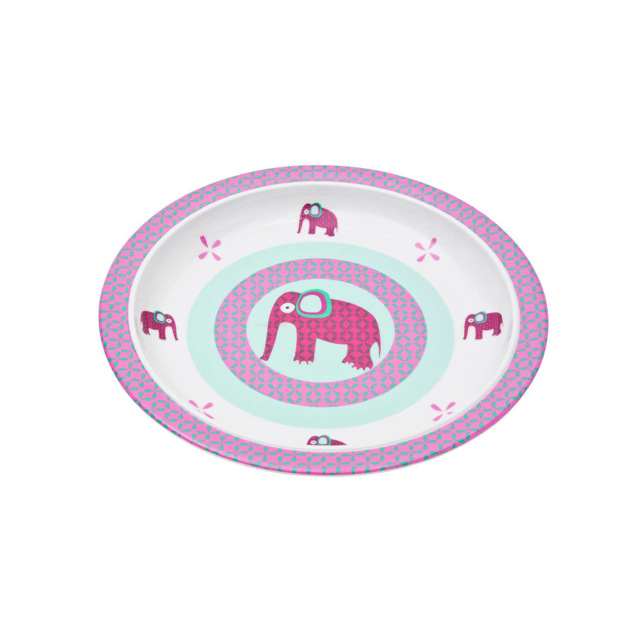 LÄSSIG Assiette en mélamine avec bordure en silicone Wildlife Elephant