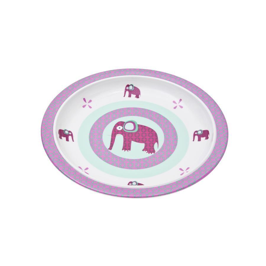 LÄSSIG Melamin Teller mit Silikonrand Wildlife Elephant pink