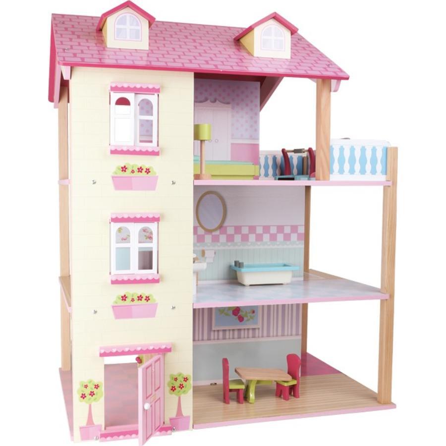 LEGLER Poppenhuis met roze dak, 3 verdiepingen