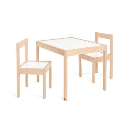 PINOLINO Tavolino e sedie Olaf 3 pezzi, legno naturale/bianco