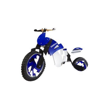 kiddimoto® Springcykel Scrambler Motocross - blå/vit