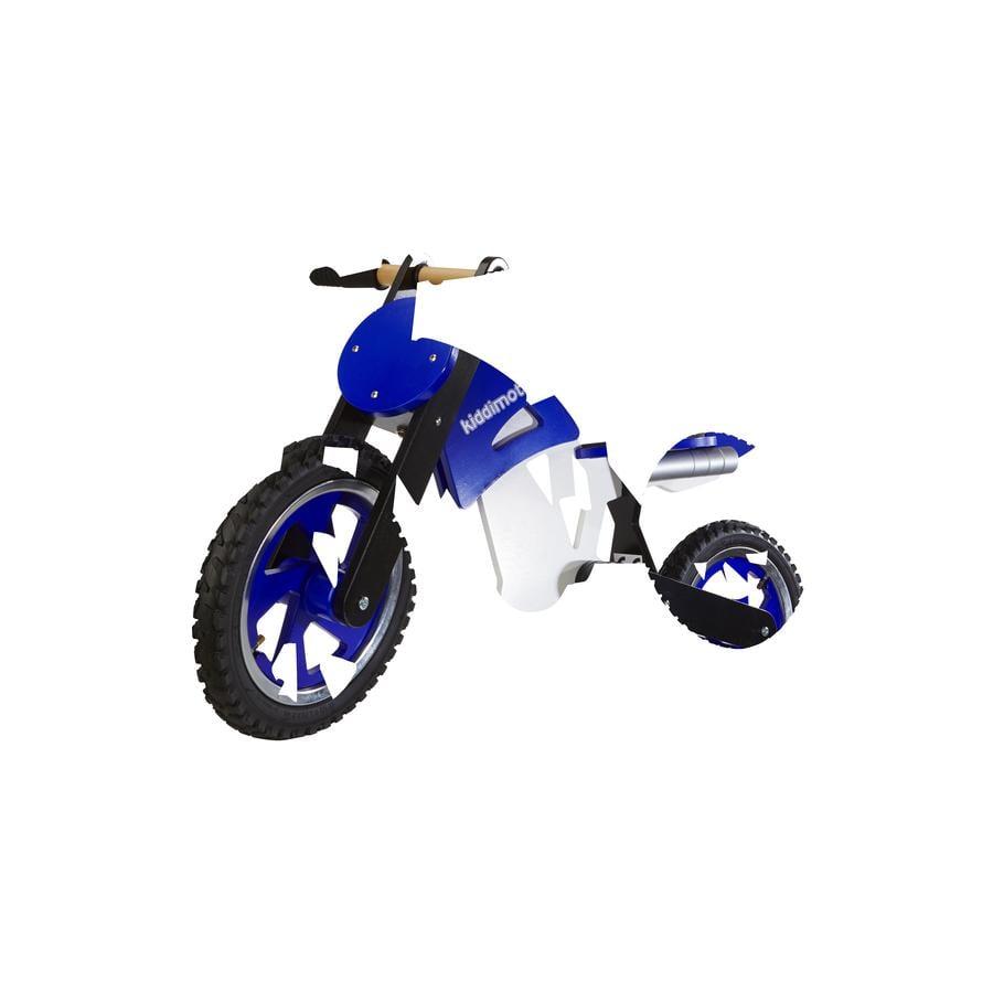 kiddimoto® Loopfiets Scrambler Motocross - Blauw/wit