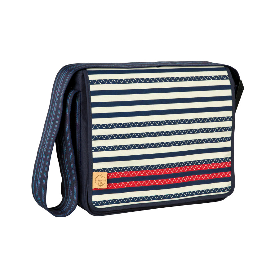 LÄSSIG Sac à langer Casual Messenger Bag Striped Zigzag, bleu marine