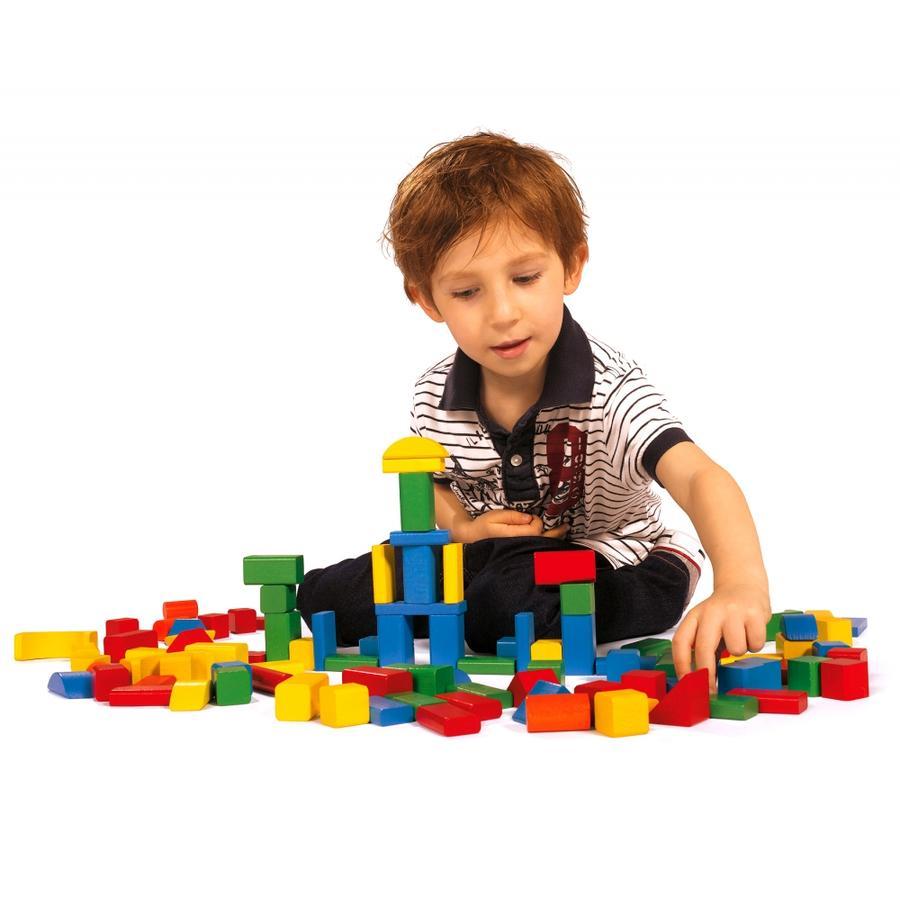 HEROS Baril de construction de 100 briques en bois colorées