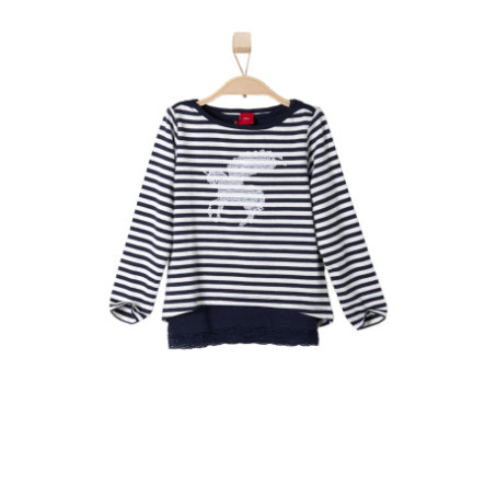 s.OLIVER Girls Mini Bluzka z długim rękawem dark blue stripes